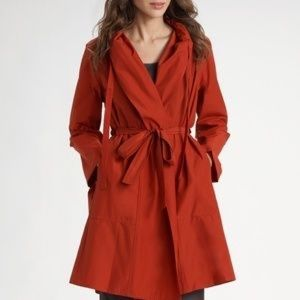 Eileen Fisher burnt orange hooded rain trench coat